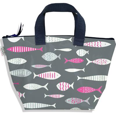 Sac à main zippé pour fille poissons gris et roses 2581-2016