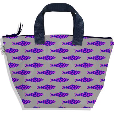 Sac à main zippé pour fille poissons roses fond gris 3145-2017
