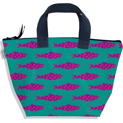 Sac à main zippé pour fille poissons roses fond vert 3146-2017