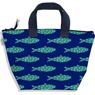 Sac à main zippé pour fille poissons verts fond bleu marine 3147-2017