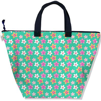 Sac à main zippé pour femme Fleurs multicolores fond vert 2225