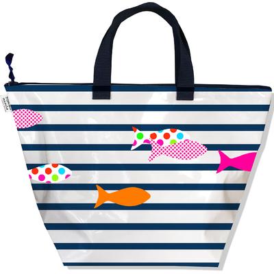 Sac à main zippé pour femme Marinière bleu et blanche poissons multicolores 2357