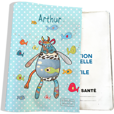 Protège carnet de santé personnalisé bébé garçon motif Doudous aquarium