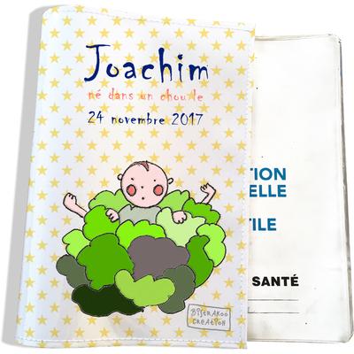 Protège carnet de santé personnalisé bébé garçon motif Choux
