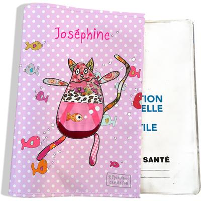 Protège carnet de santé personnalisé bébé fille motif Doudous aquarium