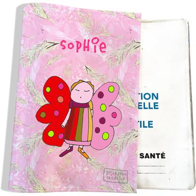 Protège carnet de santé personnalisé bébé fille motif Ange gardien