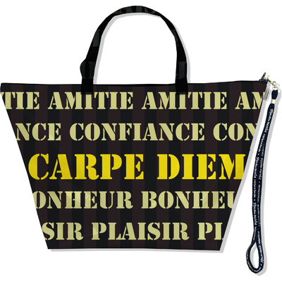 Sac Week End, Grand Sac de voyage écriture jaune Carpe diem 1883-2014