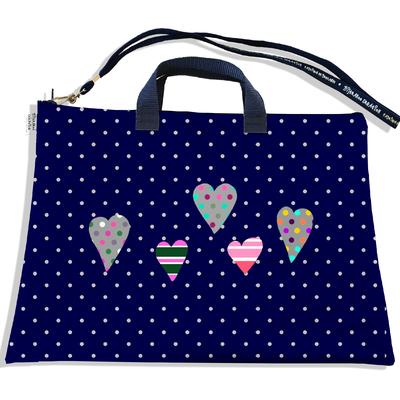 Sacoche ordinateur portable 11 & 13 pouces Coeurs multicolores fond bleu marine petits pois gris 3275