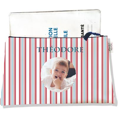 Protège carnet de santé personnalisé zippé pour bébé garçon motif Rayures
