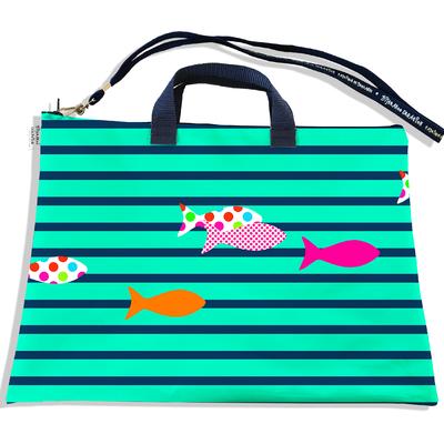Sacoche ordinateur portable 11 & 13 pouces Marinière bleue et verte poissons multicolores 2432