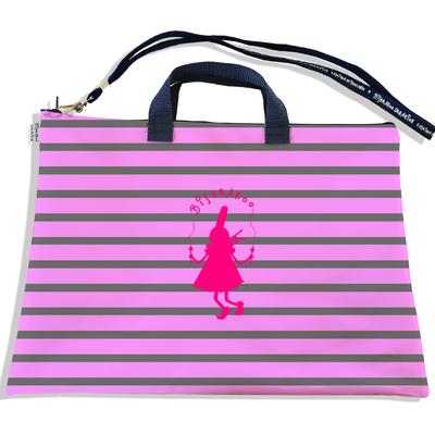 Sacoche ordinateur portable 11 & 13 pouces marinière rose et grise bigoudène Bistrakoo 2017-2015