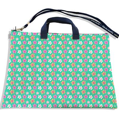 Sacoche ordinateur portable 11 & 13 pouces Petites fleurs multicolores fond vert 2225