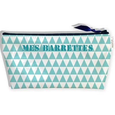 Trousse à Barrettes bijoux pour Fille, Trousse de rangement barrettes à cheveux pour le voyage les Vacances Graphique bleu T9036