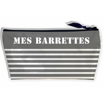 Trousse à Barrettes bijoux pour Fille, Trousse de rangement barrettes à cheveux pour le voyage les Vacances Marinière blanche fond gris T9027