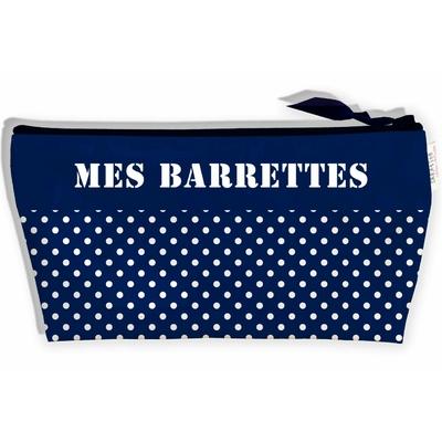 Trousse à Barrettes bijoux pour Fille, Trousse de rangement barrettes à cheveux pour le voyage les Vacances Pois blancs fond bleu marine, T9029