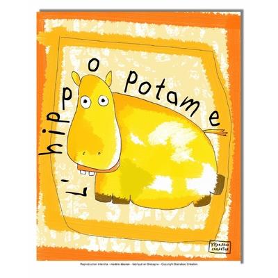 Tableau décoratif pour chambre de bébé enfant, montée sur châssis en bois, dim. l. 30 x H. 40 cm - L'hippopotame