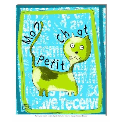 Tableau décoratif pour chambre de bébé enfant, montée sur châssis en bois, dim. l. 30 x H. 40 cm - Mon petit chat