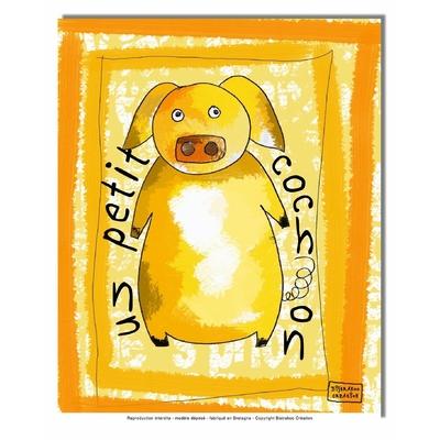 Tableau décoratif pour chambre de bébé enfant, montée sur châssis en bois, dim. l. 30 x H. 40 cm - Mon petit cochon
