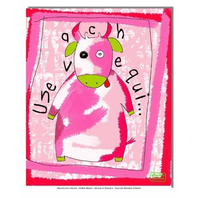 Tableau décoratif pour chambre de bébé enfant, montée sur châssis en bois, dim. l. 30 x H. 40 cm - Une vache qui.