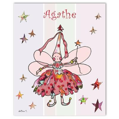 Tableau décoratif personnalisé pour chambre de bébé enfant fille, montée sur châssis en bois, dim. l. 30 x H. 40 cm, Réf. R0107-2007