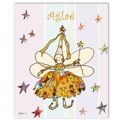 Tableau décoratif personnalisé pour chambre de bébé enfant fille, montée sur châssis en bois, dim. l. 30 x H. 40 cm, Réf. R1007-2007