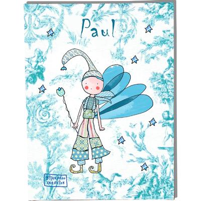 Tableau décoratif personnalisé pour chambre de bébé enfant garçon, montée sur châssis en bois, dim. l. 30 x H. 40 cm, Réf. A2510-2010