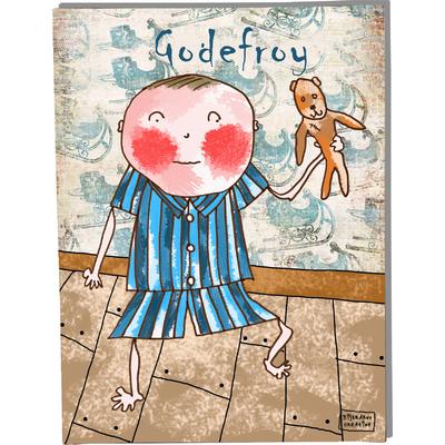 Tableau décoratif personnalisé pour chambre de bébé enfant garçon, montée sur châssis en bois, dim. l. 30 x H. 40 cm, Réf. A5410-2010