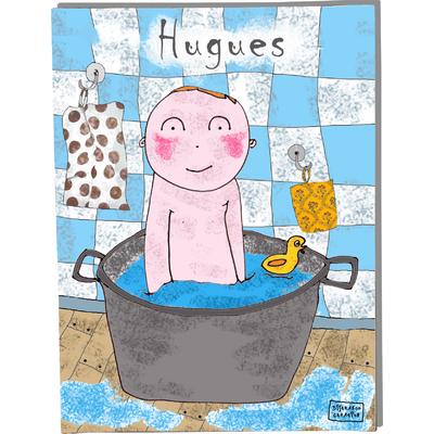 Tableau décoratif personnalisé pour chambre de bébé enfant garçon, montée sur châssis en bois, dim. l. 30 x H. 40 cm, Réf. A6110-2010