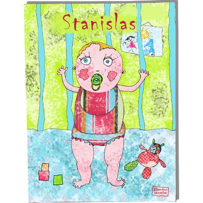 Tableau décoratif personnalisé pour chambre de bébé enfant garçon, montée sur châssis en bois, dim. l. 30 x H. 40 cm, Réf. A6810-2010
