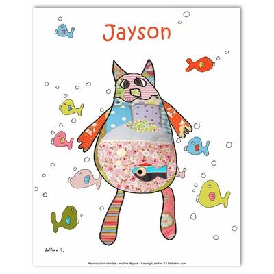 Tableau décoratif personnalisé pour chambre de bébé enfant garçon, montée sur châssis en bois, dim. l. 30 x H. 40 cm, Réf. D0507-2007
