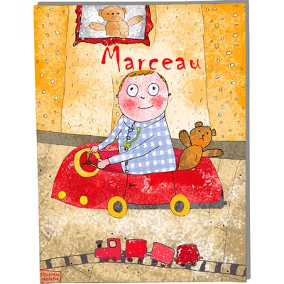 Tableau décoratif personnalisé pour chambre de bébé enfant garçon, montée sur châssis en bois, dim. l. 30 x H. 40 cm, Réf. I0808-2008