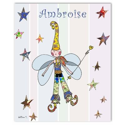 Tableau décoratif personnalisé pour chambre de bébé enfant garçon, montée sur châssis en bois, dim. l. 30 x H. 40 cm, Réf. R1607-2007