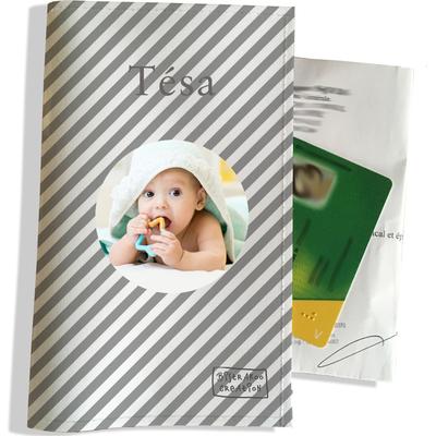 Porte ordonnance personnalisable pour bébé fille Enfant - photo et texte de votre choix (P2073-2015-photo)