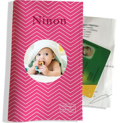 Porte ordonnance personnalisable pour bébé fille Enfant - photo et texte de votre choix (P2086-2015-photo)