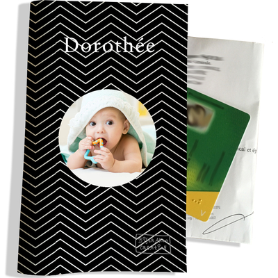 Porte ordonnance personnalisable pour bébé fille Enfant - photo et texte de votre choix (P2087-2015-photo)