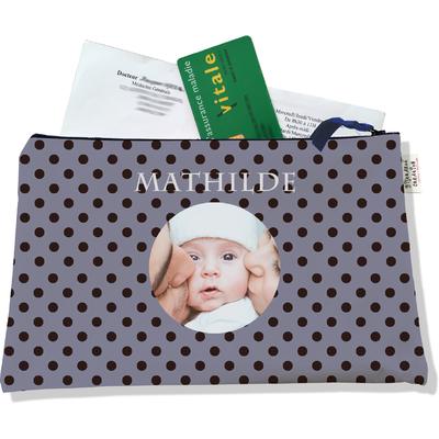 Porte ordonnances personnalisable zippé pour bébé fille Enfant - photo et texte de votre choix (POZ2057-2015)