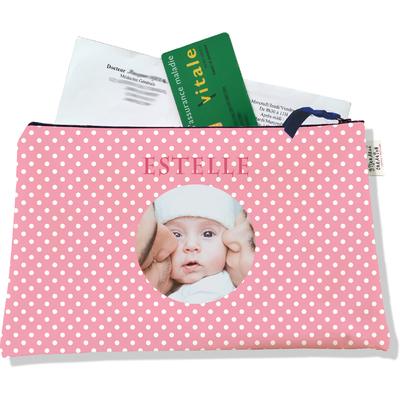Porte ordonnances personnalisable zippé pour bébé fille Enfant - photo et texte de votre choix (POZ2060-2015)