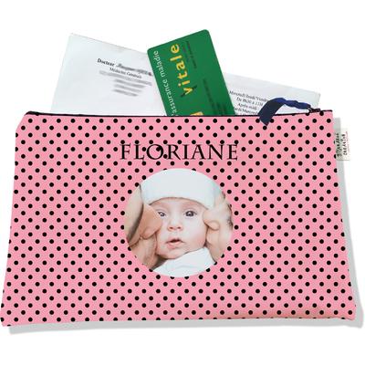 Porte ordonnances personnalisable zippé pour bébé fille Enfant - photo et texte de votre choix (POZ2061-2015)