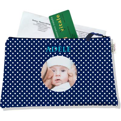 Porte ordonnances personnalisable zippé pour bébé fille Enfant - photo et texte de votre choix (POZ2064-2015)