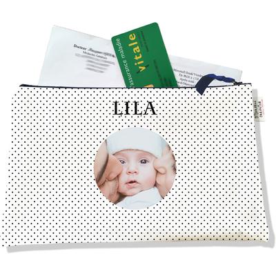Porte ordonnances personnalisable zippé pour bébé fille Enfant - photo et texte de votre choix (POZ2065-2015)