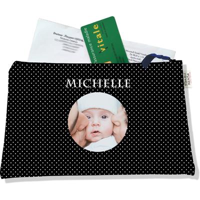 Porte ordonnances personnalisable zippé pour bébé fille Enfant - photo et texte de votre choix (POZ2066-2015)