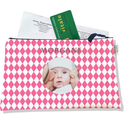 Porte ordonnances personnalisable zippé pour bébé fille Enfant - photo et texte de votre choix (POZ2076-2015)