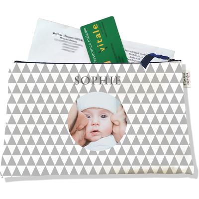 Porte ordonnances personnalisable zippé pour bébé fille Enfant - photo et texte de votre choix (POZ2082-2015)