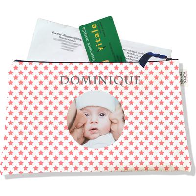 Porte ordonnances personnalisable zippé pour bébé fille Enfant - photo et texte de votre choix (POZ2089-2015)