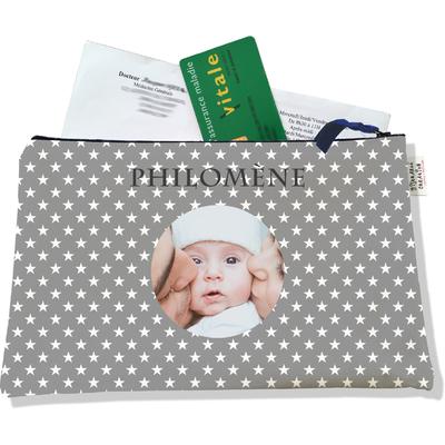 Porte ordonnances personnalisable zippé pour bébé fille Enfant - photo et texte de votre choix (POZ2090-2015)