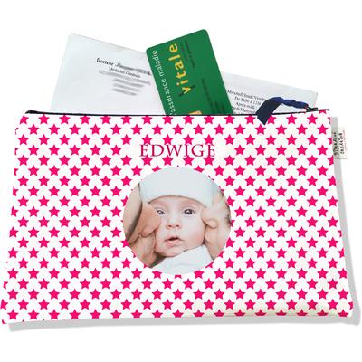 Porte ordonnances personnalisable zippé pour bébé fille Enfant - photo et texte de votre choix (POZ2091-2015)