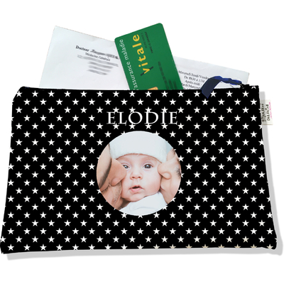 Porte ordonnances personnalisable zippé pour bébé fille Enfant - photo et texte de votre choix (POZ2092-2015)