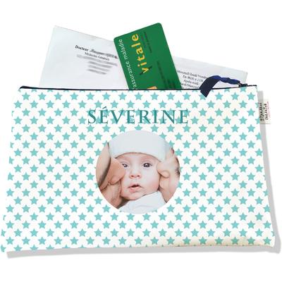 Porte ordonnances personnalisable zippé pour bébé fille Enfant - photo et texte de votre choix (POZ2093-2015)
