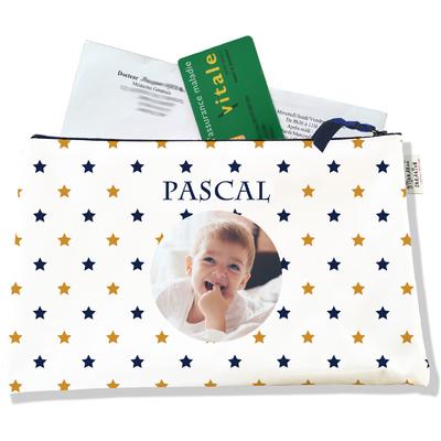 Porte ordonnances personnalisable zippé pour bébé garçon Enfant - photo et texte de votre choix (POZ2101-2015)