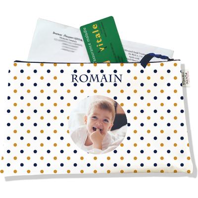 Porte ordonnances personnalisable zippé pour bébé garçon Enfant - photo et texte de votre choix (POZ2105-2015)